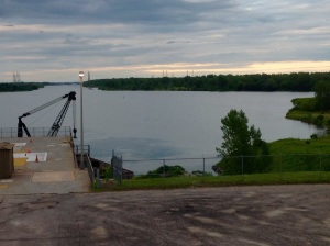 view of the St. Lawrence Seaway from the top of the Visitors Building